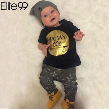 Elite99 Newborn Baby Clothes Set Baby Boys MAMAS BOY Letter Print Summer Infant Clothing Short Outfits T-Shirt Pant
