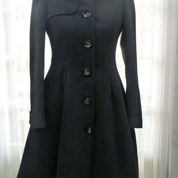 Chic Black Peter Pan Collar Fit and Flare Pleated Wool blend Princess Coat -  ORT297 - Also available in Orange and Red