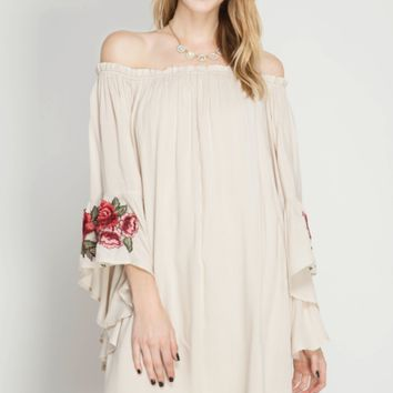 Women's Off Shoulder Shift Dress with Bell Sleeves