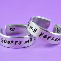 you're my person - Hand Stamped Aluminum Cuff Rings Set, Grey's Anatomy Inspired, Love And Friendship Ring,  Best Friends Gift