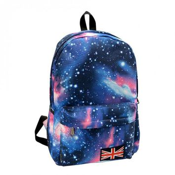 New Women Oxford printing backpack Galaxy Stars Universe Space School Book Campus student Backpack British flag bag