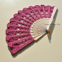 Fuchsia hand fan,Bridesmaid,wedding bouquet alternative,bridal bouquet,spanish accessory,photo prop,spring wedding,olive green hand fan