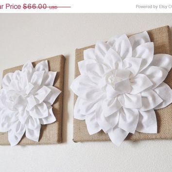 "MOTHERS DAY SALE Two Wall Flowers -White Dahlias on Burlap 12 x12"" Canvas Wall Art- Rustic Home Decor-"