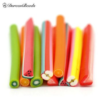 DCK9M2 Mixed Fruit Polymer Clay Nail Art Canes Decoration 5x0.5cm(2'x1/4'), sold per packet of 50 (B16222)