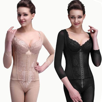 Waist Body Shaper Sexy Long Sleeve Push Up Shaped Hip Up Slim Corset [4965282116]