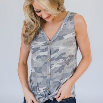 Grey Camo Everyday Button Tank Top