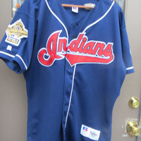 1995 CLEVELAND INDIANS Russell Diamond  Collection with 1995  world series patch welcome to the show  MLB Baseball Jersey Sewn sz 48