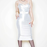 Ms Mary Ann Wiggle Dress in Stretch Silver Lurex