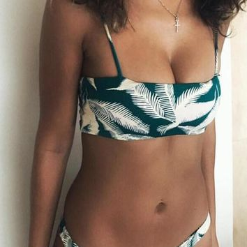 Seagreen Leaf Print Bandeau Swimsuit