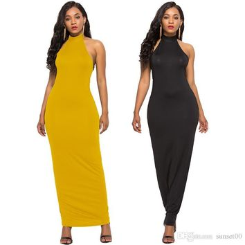 Classic Black Halter ladies Sexy long dress Women Solid Color Sleeveless Stretch Slim Casual Dress Summer