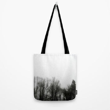 Fog, Mist, Misty, Trees, Eerie, B&W, Morning - Tote Bag 3 Sizes Available-Grocery, Beach, Busy Mom, Coworker, Teacher -Made To Order-MMF#85
