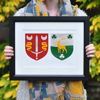 Personalised Wedding Gift. Family Coat of Arms Crest. Handmade in Ireland