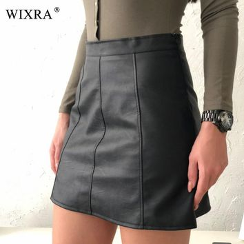 Wixra Basic Skirts Spring New PU Faux Leather Skirt Women High Waist Skirt Black Side Zipper Mini Skirt for 4 Season