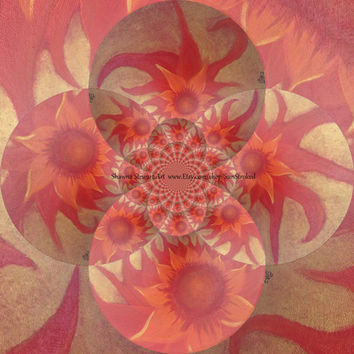 Poster PRINT, Radiantly Red- digitally Revamped, abstract acrylic energy painting, Free shipping, root chakra, floral, flower