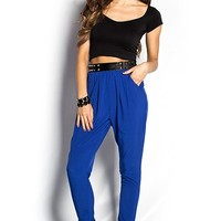 Classic Royal Blue Harem Pants with Pockets