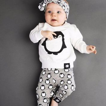 Newborn Baby Girl Clothes Infant Baby Girl Clothing Set Cute Cartoon penguin  t-shirt+pants+Headband Kids Toddler Outfits