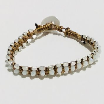 Lizas Bead Bracelets-Clear and Silver Button