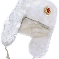 White Winter Hat with Earflaps: Russian Ushanka. With Russian Eagle insignia