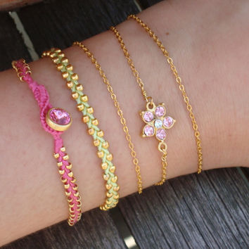 FREE SHIPPING Pink Green Friendship Bracelet Set