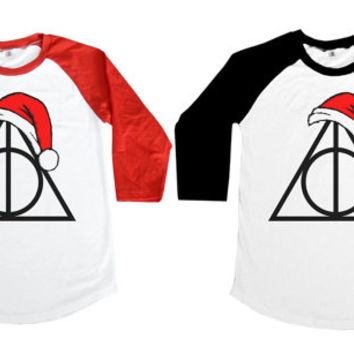Deathly Hallows  - NM Santa Claus Hat Xmas Logo Harry Potter Hollywood Women Long Sleeve Baseball Shirt Tshirt Jersey