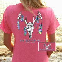 Southern Attitude Preppy Feather Deer Skull Pink T-Shirt