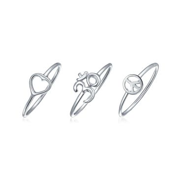 Peace Love Heart Aum Om Ohm 1MM Knuckle Midi Ring Set Sterling Silver