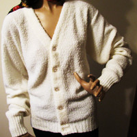 vintage ivory button down sweater by Lord Jeff, size large