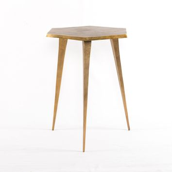 MARCO HEX END TABLE - RAW BRASS