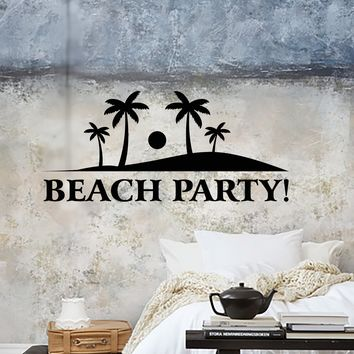 Wall Stickers Vinyl Decal Beach Party Summer Ocean Vacation Palms Unique Gift (z1967)
