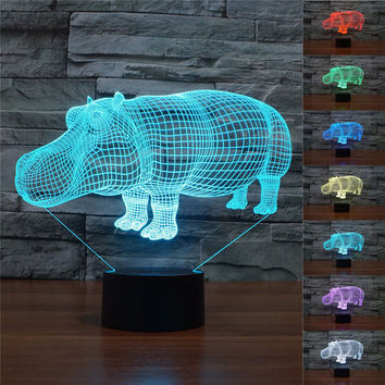 Novelty 3D Hippo Night Light 7 Color Change LED Table Lamp Xmas Toy Gift Living Room Home Decor