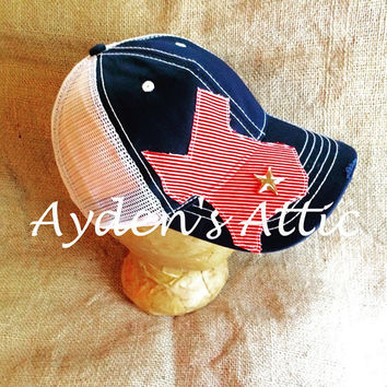 Ladies stars & stripes Texas baseball cap. I love Texas. Texas clothing. Chemo hat. Country girl. Texas pride. Red white and blue.