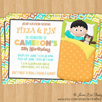 Boys Sleepover Invitation, Slumber Party Birthday Invite - Printable, Digital, DIY, Sleeping Bag, Camp Out, Movie Night