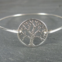 Silver Tree of Life Bangle Bracelet - Tree of Life Jewelry - Nature Jewelry -  Tree of Life Bracelet - Silver Jewelry