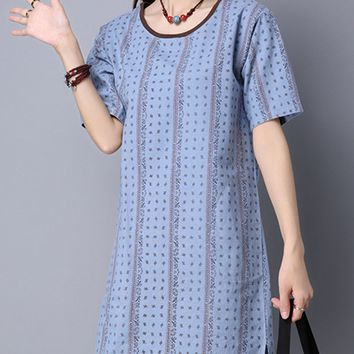 Streetstyle  Casual Round Neck Slit Pocket Vertical Striped Shift Dress