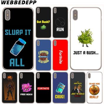 WEBBEDEPP Fortnite Bush Art Case for iPhone X or 10 8 7 6 6S Plus 5 5S SE 5C 4 4S 1