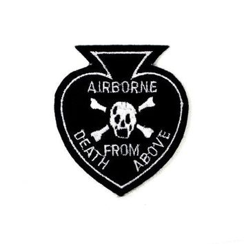 Airborne Death From Above Skull Army Embroidered Military Patch AKPM142