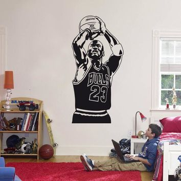 2016 New design Michael Jordan Wall Sticker Vinyl DIY home decor Basketball Player Dec