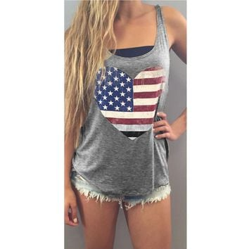 Womens Flag Print Sleeveless Crop Top