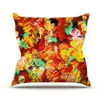 "Ebi Emporium ""Floral Fantasy II"" Orange Yellow Throw Pillow"