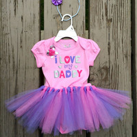 Baby Tutu Outfit - I Love My Daddy - Dad Birthday - Daddy's Girl - Pink Purple Onesuit Tutu