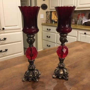 """Vintage Pair of 12 1/4"""" Tall Brass and Ruby Red Glass Ornate Candlesticks EUC"""