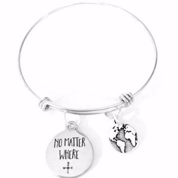 Adjustable Bangle Charm Bracelet No Matter Where Earth Planet Map Long Distance