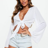 Missguided - White Tie Front Crop Top