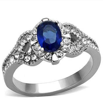 Sapphire Sea - Stainless Steel With Sapphire Color Stone And CZ Crystals