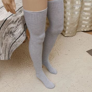 Black, Gray, White, Maroon, Nude Long Stripes Knitted Over The Knee Thigh Socks - Women High Socks
