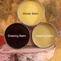 Handmade Natural Healing, Natures 1st Aid Kit, 3 Balm Set, Healing Balm, Winter Balm, Drawing Balm