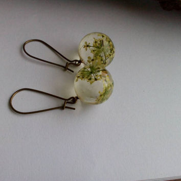 Sphere shape clear resin earrings with real Queen Anne's Lace Orbit resin earrings with real flowers Resin jewelry dried flowers earrings