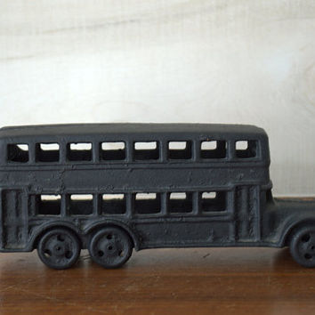 Vintage Black Cast Iron Double Decker London Bus Collectible