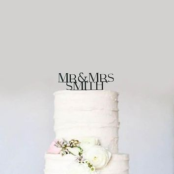 Custom Personalized Mr and Mrs Name Block Letters Modern Wedding Cake Topper