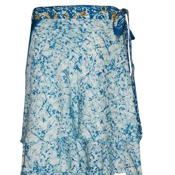 Boho Magic Wrap Skirt Blue PREMIUM Silk Blend Reversible Wrap-Around Short Skirts